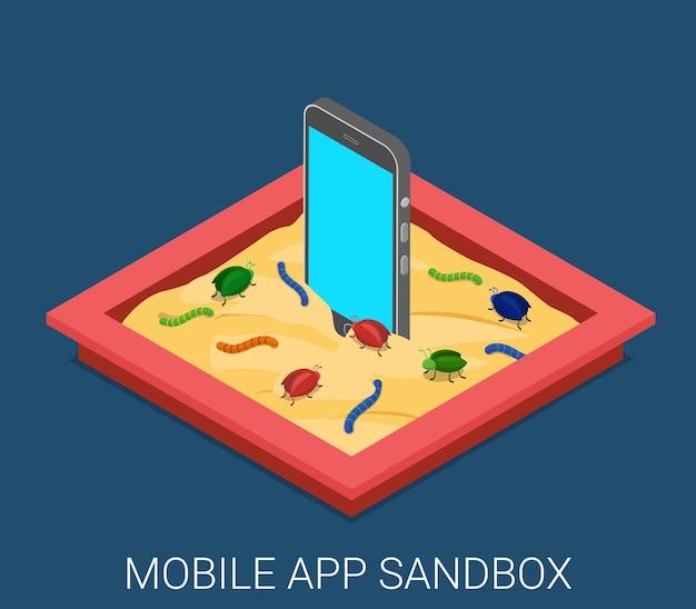 Mobile bösartige softwareanwendung entwicklung sandbox debug flach isometrisch