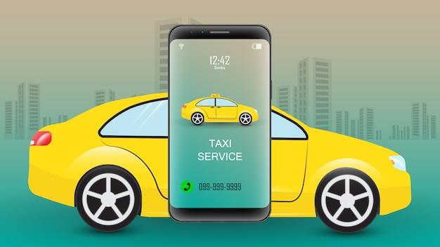 Mobile buchungsanwendung für den taxiservice. smartphone mit taxi auf hintergrund