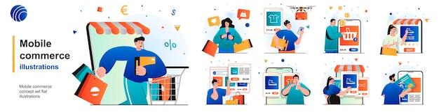 Mobile commerce isoliertes set einkaufen im mobilen app-e-commerce-e-business von szenen in wohnung