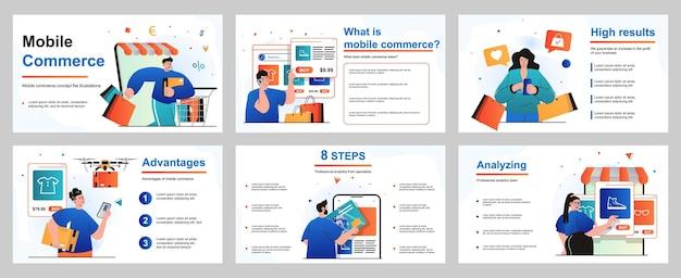 Mobile-commerce-konzept für präsentationsfolienvorlage menschen beim einkaufen