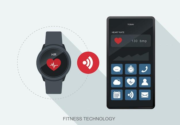 Mobile daten der fitness-technologie werden zwischen smartwatch und smartphone synchronisiert.