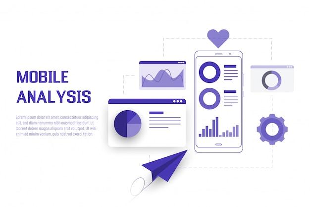 Mobile datenanalyse, recherche, planung und statistik