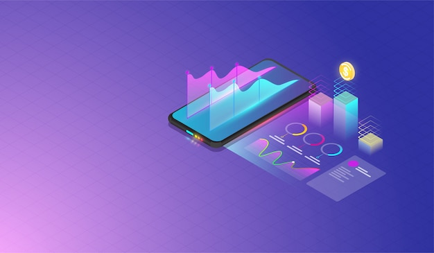 Mobile datenanalyse und fortschrittskonzept