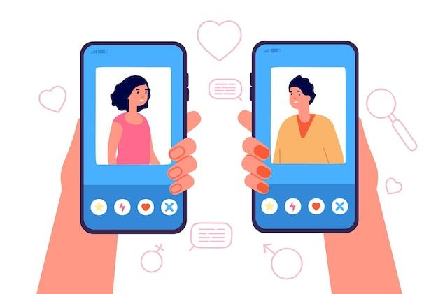 Mobile-dating-konzept. romantische app, mann-frau-online-beziehung. weibliches männliches internet-medienprofil, hand, die telefonvektorkonzept hält. illustrationsverbindung liebesanwendung