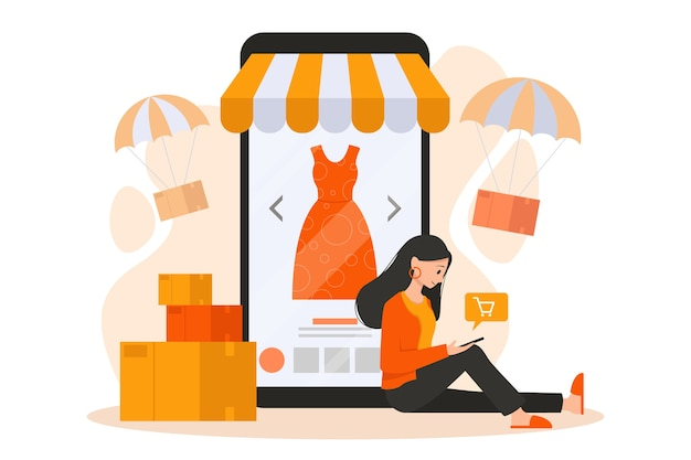 Mobile e-commerce-illustration. .