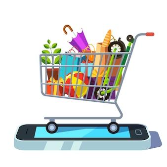 Mobile einzelhandel und e-commerce-konzept