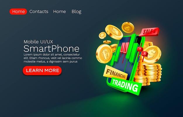 Mobile finanzhandelsdienstleistung finanzzahlung smartphone mobile bildschirmtechnologie mobile anzeige ...