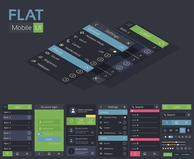 Mobile flache ui-entwurfsvorlage mit verschiedenen bildschirmsymbolen, schaltflächen und elementen für die mobile anwendung