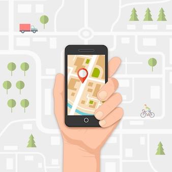 Mobile gps-navigation auf dem mobiltelefon mit karte und stiftvektorillustration