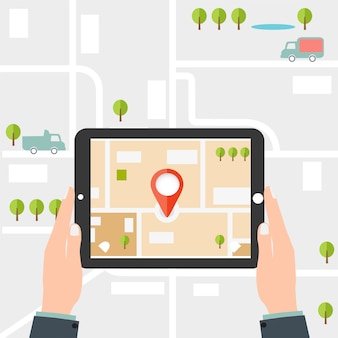 Mobile gps navigation. mann hält eine tablette