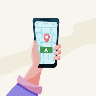 Mobile gps-navigation und tracking-konzept. standort-tracker-app auf dem touchscreen-smartphone. flache vektorgrafik einer menschlichen hand, die ein smartphone mit einer funktionierenden karten-app hält
