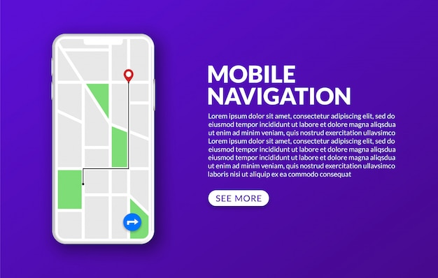 Mobile gps-navigation und verfolgung mit stadtplan und marker, globales positionierungssystemkonzept