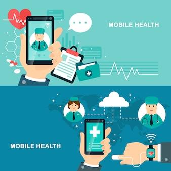Mobile health flat design illustration verfolgen ihren gesundheitszustand durch geräte