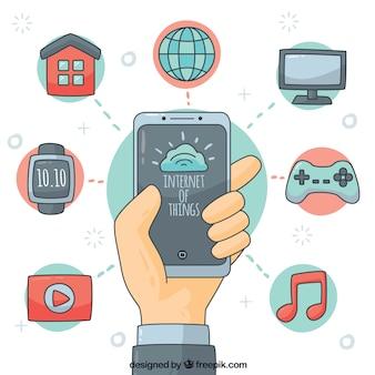 Mobile hintergrund und elemente mit handgezeichneten internet