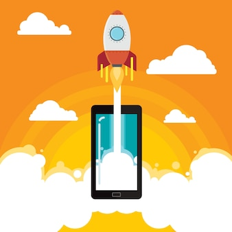 Mobile idee vektorillustration rocket-geschäfts