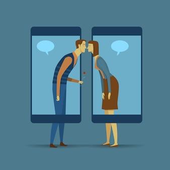 Mobile kommunikation. soziales netzwerk zur weitergabe oder zum austausch von informationen oder nachrichten.