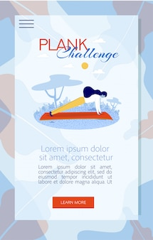 Mobile landing page mit plank challenge