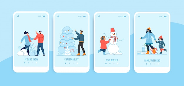 Mobile landing page set für weihnachten und neujahr