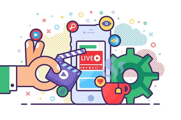 Mobile live-stream-konzeptillustration