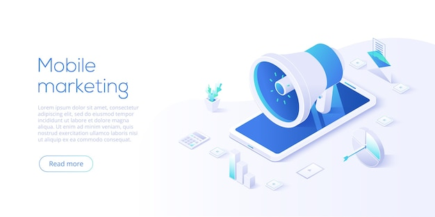 Mobile marketing-geschäft im isometrischen design. online-internet-werbekonzept mit smartphone. website- oder webseitenlayoutvorlage.