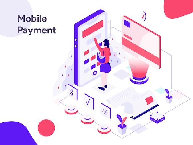 Mobile marketing-isometrische illustration