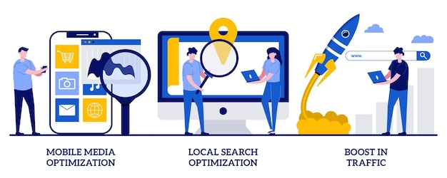 Mobile media-optimierung, lokale suche, steigerung des traffics. seo-strategie, suchmaschinen-targeting-set