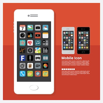 Mobile mit ikonen-design-gesetzte vektor-illustration