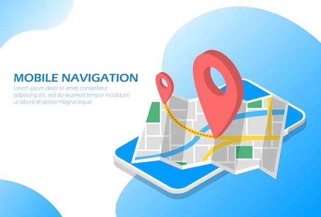 Mobile navigation im telefon isometrisch.