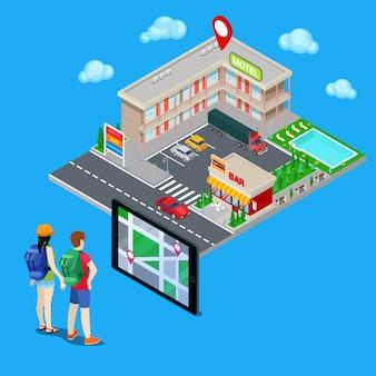 Mobile navigation. paare von den touristen, die stadthotel suchen. isometrische stadt. vektor-illustration