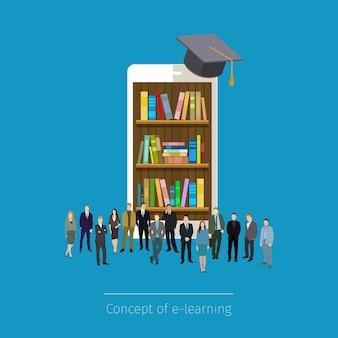 Mobile online-bibliothek im smartphone. bildungskonzept. bücher in smartphone-tablet, mikro-leute herumstehen.
