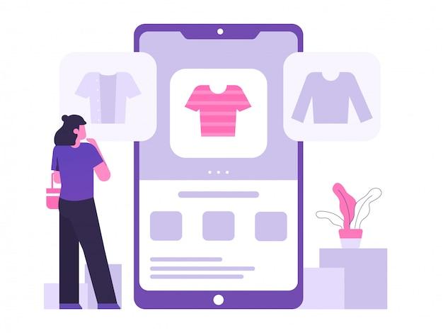 Mobile online-shopping-konzept illustration