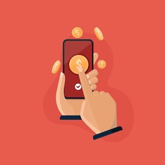 Mobile payment app hand hält smartphone zum senden und empfangen von geld online