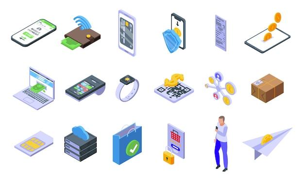 Mobile payment icons eingestellt. isometrischer satz von mobilen zahlungssymbolen für web lokalisiert auf weißem hintergrund