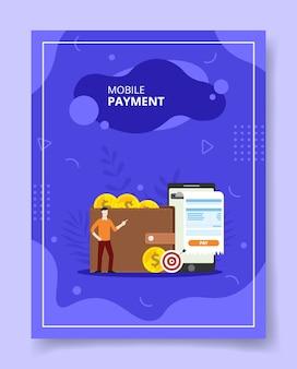 Mobile payment menschen stehen front wallet geld smartphone für vorlage von bannern flyer bücher abdecken