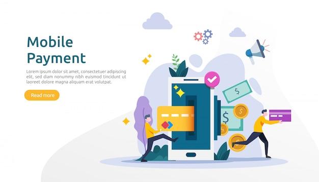 Mobile payment oder geldtransfer-konzept für e-commerce-markt einkaufen online-illustration mit winzigen menschen charakter. vorlage für web-landingpage, banner, präsentation, social media, printmedien