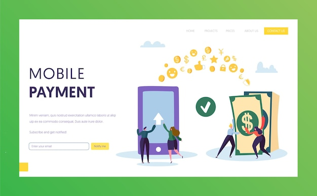 Mobile payment phone cash transfer landing page.