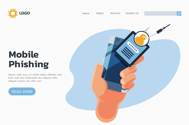 Mobile phishing landing page und hand