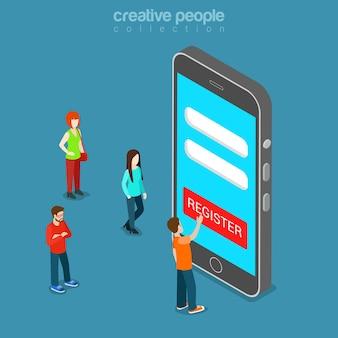 Mobile registrierungs-app flach isometrisch