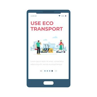 Mobile seite für öko-transportzahlung und mietflachvektorillustration