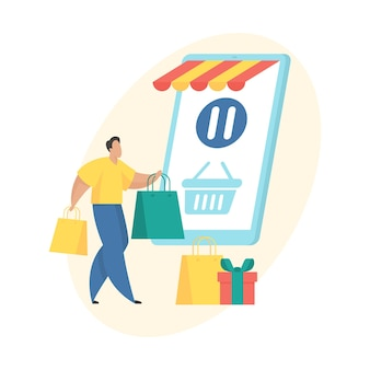 Mobile shopping-anwendung. bestellen sie in der warteschleife flache vektor-icon-konzept-darstellung. männliche zeichentrickfigur, die in der nähe eines riesigen smartphones mit einkaufswagen auf dem bildschirm steht