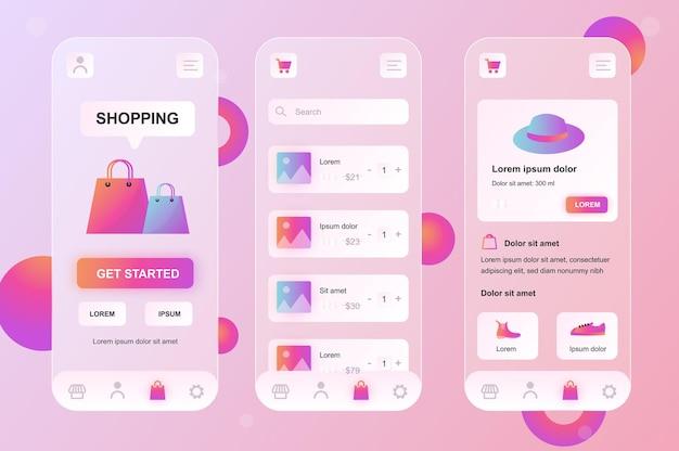 Mobile shopping glassmorphic design neumorphische elemente kit für mobile app ui ux gui bildschirme eingestellt