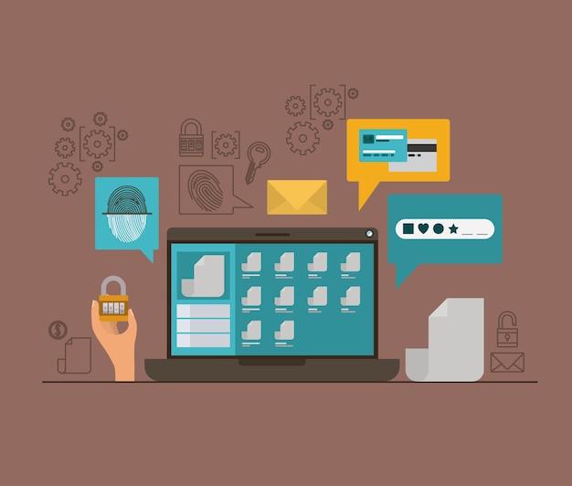 Mobile sicherheit mit laptop und sicheren apps