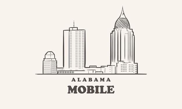 Mobile skyline alabama gezeichnete skizze