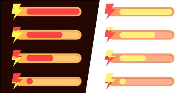 Mobile spieloberfläche. satz von statussymbolen für energie und aktivität.