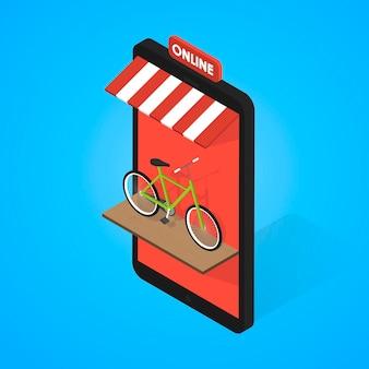 Mobile supermarkt-internet-commerce-konzept. fahrradverleih und online-verkauf.