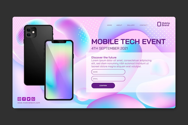 Mobile tech event landing page