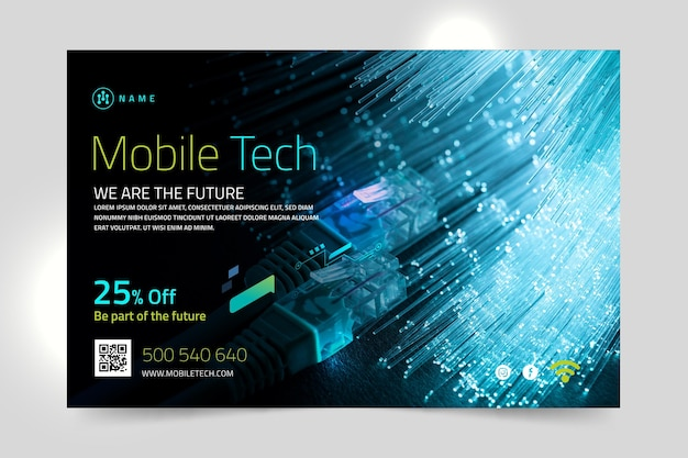 Mobile tech horizontale banner vorlage