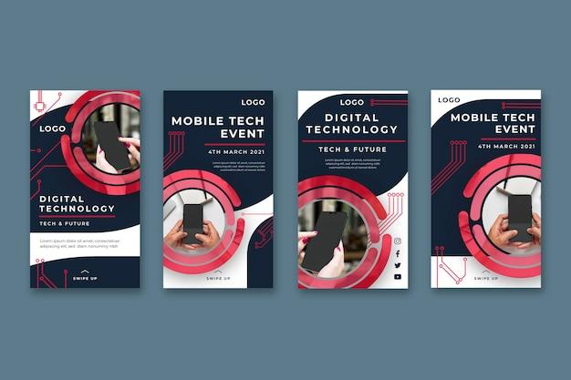Mobile tech instagram geschichten sammlung