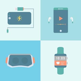 Mobile tech-technologie internet-herzfrequenz-monitor-sammlung