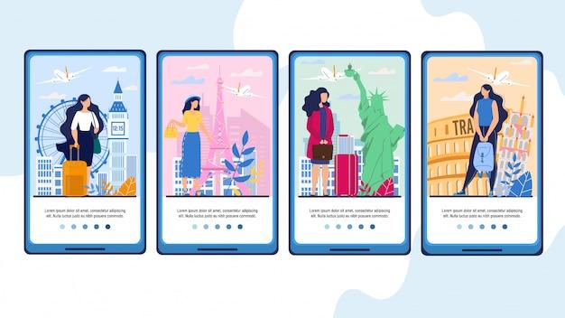 Mobile travel app mit touristin im urlaub